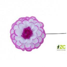 Jiřina POMPONKA vosková růžovo-bílá 8cm