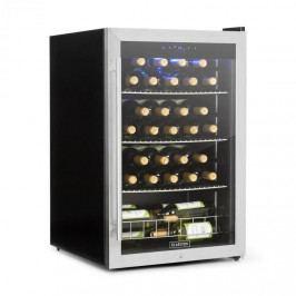 Klarstein Falcon Crest chladnička na nápoje, prosklené dveře, 4–18 °C, 128 l, zámek, 42 dB, ušlechtilá ocel