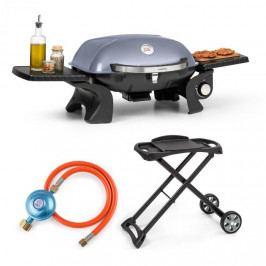 Klarstein Parforce One, plynový gril, plynová hadice, grilovací stůl, 3,5 kW, 12000 BTU, šedý