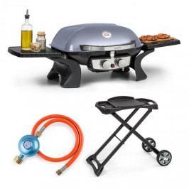 Klarstein Parforce Duo, plynový gril, plynová hadice, grilovací stůl, 4,4 kW, 15000 BTU, šedý