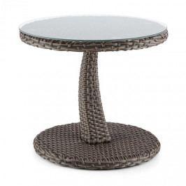 Blumfeldt Tabula, odkládací stolek, 50 cm, sklo, polyratan, hliník, dvoubarevný antracit