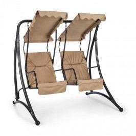 Blumfeldt Skywalker, zahradní houpačka, 180 cm, 2 sedadla, sluneční stříška, béžová