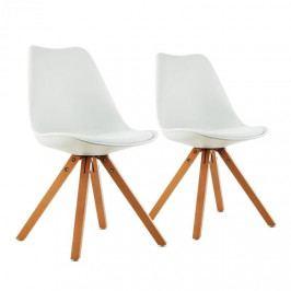 OneConcept Onassis, bílá, skořepinová židle, sada 2 kusů, retro, polstrovaná březové dřevo