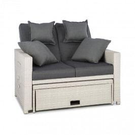 Blumfeldt Komfortzone, ratanová zahradní sedačka, dvojsedačka, polyratan, sklopná, bílá