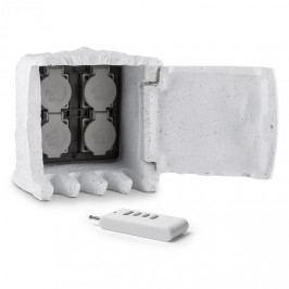 Waldbeck Power Rock Remote, zahradní zásuvka, 4-itý rozdělovač, 5 m, dálkové ovládání, skála, světle šedá