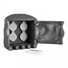 Waldbeck Power Rock Remote, zahradní zásuvka, 4-itý rozdělovač, 3 m, dálkové ovládání, skála, tmavě šedá