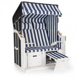 Blumfeldt Hiddensee, plážové sezení, plážový koš XL, dvousedadlo, lehátko, borovice, modré/bílé, pruhovaný motiv