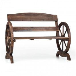Blumfeldt Ammergau, zahradní lavice, dřevěná, kola vozu, 108 x 65 x 86 cm, jedlové opalované dřevo