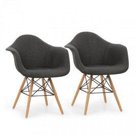 OneConcept Visconti židle, 2-dílná sada, polstrovaná PP-konstrukce sedáku, březové dřevo, šedá barva