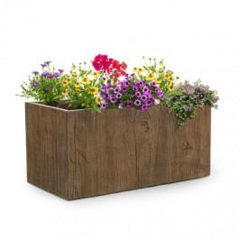Blumfeldt Timberflor, květináč, 80 x 40 x 40 cm, sklolaminát, do interiéru i exteriéru, hnědý