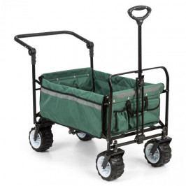 Waldbeck Easy Rider, tahací vozík, do 70 kg, teleskopická tyč, sklopný, zelený