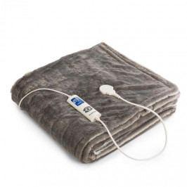 Klarstein Dr. Watson SuperSoft, výhřevná deka, 120 W, 180 x 130 cm, chlupatý plyš, krémová / šedá