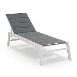 Blumfeldt Renazzo Lounge, zahradní lehátko, 70/30 PVC / PE, hliník, 6 úrovní, šedo/bílá