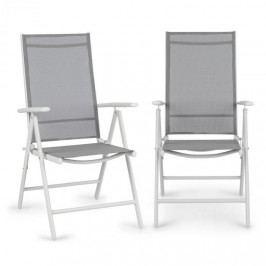 Blumfeldt Almeria, skládací židle, sada 2 kusů, 59,5 x 107 x 68 cm, Comfortmesh, hliník/bílá