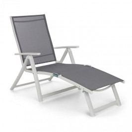 Blumfeldt Pomporto Lounge, zahradní lehátko, PVC, PE, hliník, 7 úrovní, bílé / světle šedé
