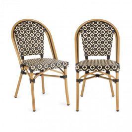 Blumfeldt Montbazin BL, židle, možnost ukládat židle na sebe, hliníkový rám, polyratan, černo-krémová