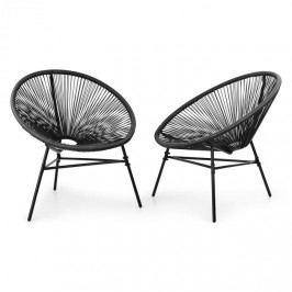 Blumfeldt Las Brisas Chairs, zahradní židle, sada 2 kusů, retro design, 4 mm pletivo, černé
