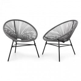 Blumfeldt Las Brisas Chairs, zahradní židle, sada 2 kusů, retro design, 4 mm pletivo, šedé