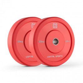 Capital Sports Nipton Bumper Plates, červené, 25 kg, pár kotoučových závaží, tvrdá guma