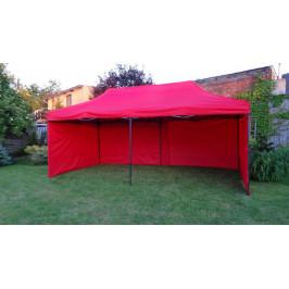 Tradgard 41509 Zahradní párty stan DELUXE nůžkový + boční stěna - 3 x 6 m červená