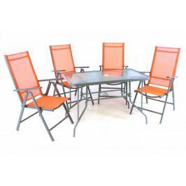 Garthen 41630 Zahradní skládací set stůl + 4 židle - oranžová