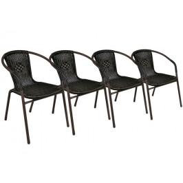 Garthen 27261 Set 4 ks polyratanová zahradní židle - tmavě hnědá