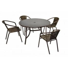 Garthen 31945 Bistro stolek a 4 židle z polyratanu