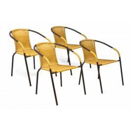 Garthen 35123 Sada 4 kusů zahradních židlí s polyratanovým výpletem - béžová