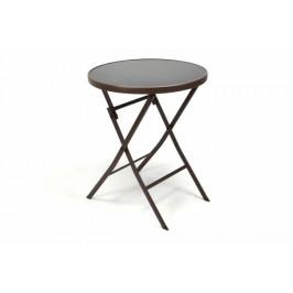 Garthen 35062 Zahradní bistro stolek skleněný se sklopnou deskou - hnědý