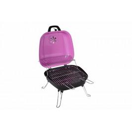 Garthen 5935 Kufříkový gril na dřevěné uhlí BBQ - růžový