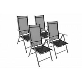 Garthen 7353 Zahradní sada 4 skládací židle - černá
