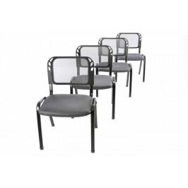 Sada 4 stohovatelných kongresových židlí - šedá