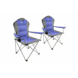 Divero Deluxe 35955 Set skládací kempingová rybářská židle 2 kusy - modro/šedá