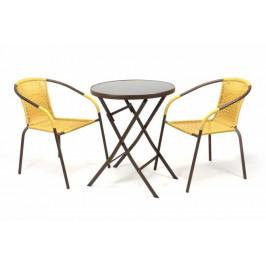 Garthen BISTRO 35222 Zahradní set 2 židle + stůl - béžový polyratan