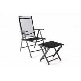 Garthen 40797 Zahradní polohovatelná židle + stolička pod nohy - černá