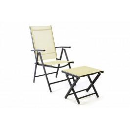 Garthen 40745 Zahradní polohovatelná židle + stolička pod nohy - krémová