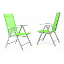 Garthen 35958 Sada 2 kusů hliníkových polohovatelných židlí - zelená