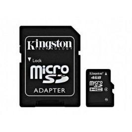 Paměťová karta Kingston microSDHC Class 4 4GB + adaptér