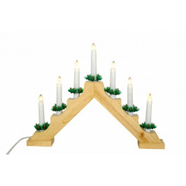 Nexos Trading GmbH & Co. KG 29213 Vánoční dekorace - Klasický dřevěný svícen - 7 LED diod, teple bíl