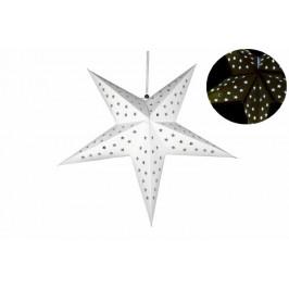 Vánoční dekorace - hvězda s časovačem 60 cm - 10 LED, bílá