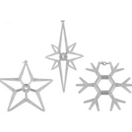 Nexos Trading GmbH & Co. KG 32828 Vánoční dekorace na okno - sada 3 hvězda a vločka LED