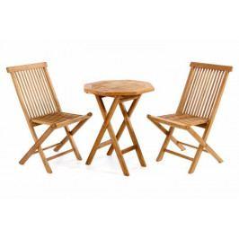 Divero 339 Luxusní balkonový set Gardenay z týkového dřeva, 1 stůl + 2 skládací židle