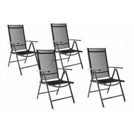 Garthen 45825 Zahradní sada 4 skládacích židlí - černá