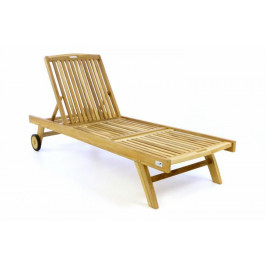 Divero 47299 Zahradní lehátko - týkové neošetřené dřevo