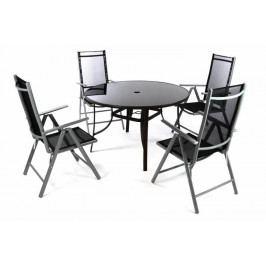 Garthen 46974 Zahradní set - 4 polohovatelné židle a stůl - černá