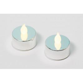 Nexos 42987 Dekorativní sada - 2 čajové svíčky - stříbrná
