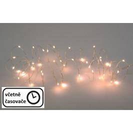 Nexos 57407 LED osvětlení - stříbrný drát - 40 LED teple bílá