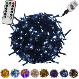 VOLTRONIC® 59756 Vánoční LED osvětlení 5 m - studená bílá 50 LED + ovladač - zelený kabel