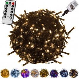 VOLTRONIC® 59741 Vánoční LED osvětlení 10 m - teple bílá 100 LED + ovladač - zelený kabel