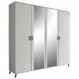 Prostorná bílá skříň Falun se zrcadlemá